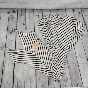 Iris Basic White/Black Striped Tank Maxi Dress M
